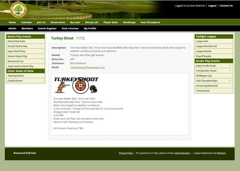Golf Event Details
